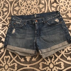 7 for all mankind distressed denim shorts.